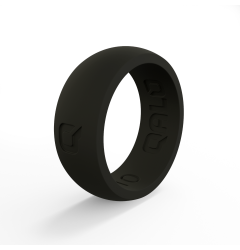 QALO Men's Black Classic Domed Silicone Band