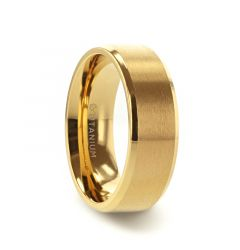 RADIATE Gold-Plated Titanium Flat Brushed Center Men's Wedding Ring With Beveled Polished Edges - 8mm