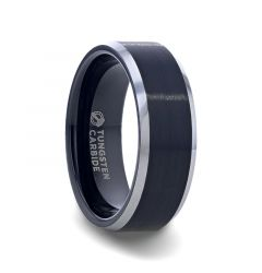 ASTON Black Brushed Center Tungsten Ring with Polished Beveled Edges - 4mm - 10mm