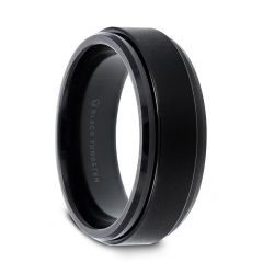 REVOLVE Black Tungsten Brushed Finish Spinner Ring Polished Base Spinning Wedding Band - 6mm 8mm
