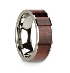 Polished 14k White Gold Men's Wedding Band with Redwood Inlay - 8mm