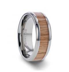 RUBRA Red Oak Wood Inlaid Titanium Ring with Bevels - 8mm