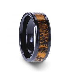 SAHARA Men's Black Ceramic Wedding Band with Sanskrit Stone Inlay & Polished Beveled Edges - 8mm