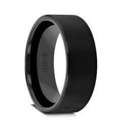 SAN ANTONIO Flat Black Tungsten Carbide Band with Brushed Finish - 4mm - 12mm