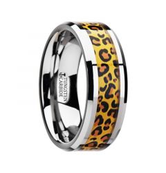 SAVANNAH Tungsten Wedding Ring with Cheetah Print Animal Design Inlay - 6mm & 8mm