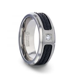 SECTOR Black Rope Cables Inlaid Brushed Finish Titanium Men's Wedding Ring with Diamond Centered And Beveled Polished Edges - 8mm