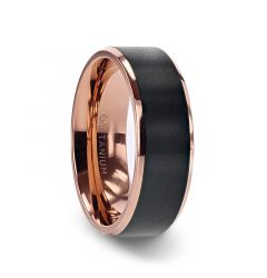 STEPHEN Rose Gold Plated Black Titanium Flat Brushed Center Men's Wedding Ring With Beveled Polished Edges - 8mm