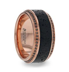 HYPERIA Lava Inlaid 10K Rose Gold Men's Wedding Band With Black Diamonds Around Polished Edges - 10mm