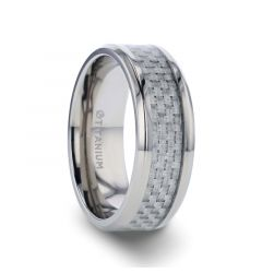 TANTALUS Beveled Edge Titanium Ring with White Carbon Fiber Inlay - 8mm