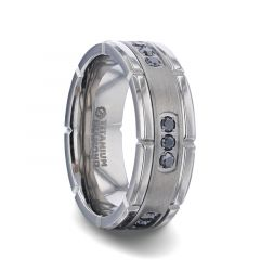 COURAGEOUS Brushed Center Titanium Men's Wedding Band With Double Grooved Polished Edges And Black Diamond Settings - 8mm