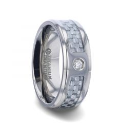 MAYBACH Light Gray Carbon Fiber Titanium Men's Wedding Band with White Diamond In The Squared Center Setting And Polished Beveled Edges - 8mm