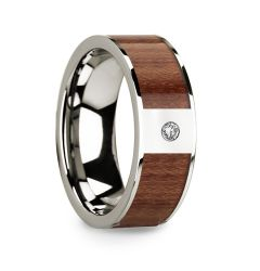 Polished 14k White Gold Men's Wedding Ring with Rosewood Inlay & Diamond Center - 8mm