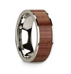 14k White Gold Men's Wedding Band with Rosewood Inlay & Polished Finish - 8mm