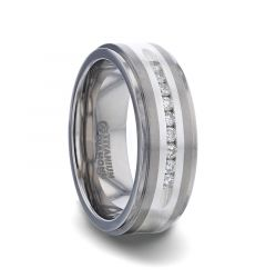 BOND Flat Brushed Silver Inlaid Titanium Men's Wedding Band With 9 Channel Set White Diamonds - 8mm