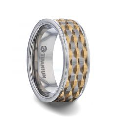 MONTROSE Wavy Gold And Gunmetal Texture Pattern Inlaid Titanium Men's Wedding Band With Flat Polished Profile - 8mm