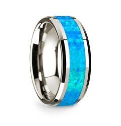 14k White Gold Polished Beveled Edges Wedding Ring with Blue Opal Inlay - 8 mm