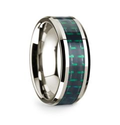 14k White Gold Polished Beveled Edges Wedding Ring with Black and Green Carbon Fiber Inlay - 8 mm