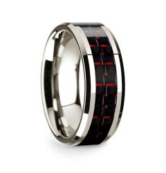 14k White Gold Polished Beveled Edges Wedding Ring with Black and Red Carbon Fiber Inlay - 8 mm