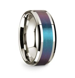 14k White Gold Polished Beveled Edges Wedding Ring with Blue and Purple Color Changing Inlay - 8 mm