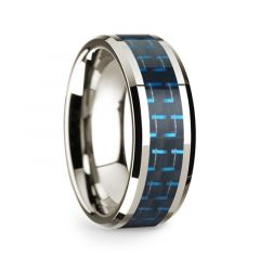 14k White Gold Polished Beveled Edges Wedding Ring with Black and Dark Blue Carbon Fiber Inlay - 8 mm
