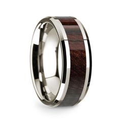 14k White Gold Polished Beveled Edges Wedding Ring with Bubinga Wood Inlay - 8 mm