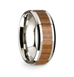 14k White Gold Polished Beveled Edges Wedding Ring with Teakwood Inlay - 8 mm