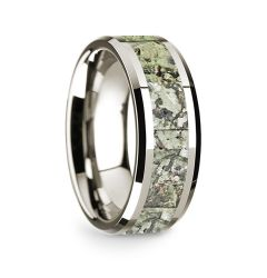 14k White Gold Polished Beveled Edges Wedding Ring with Green Dinosaur Bone Inlay - 8 mm