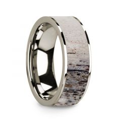 Flat Polished 14k White Gold Wedding Ring with Ombre Deer Antler Inlay - 8 mm