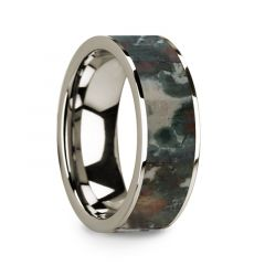 Flat Polished 14k White Gold Wedding Ring with Coprolite Fossil Inlay - 8 mm