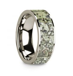 Flat Polished 14k White Gold Wedding Ring with Green Dinosaur Bone Inlay - 8 mm