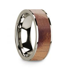 Flat Polished 14k White Gold Wedding Ring with Olive Wood Inlay - 8 mm