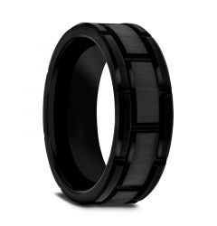WINDSOR Beveled Black Tungsten Carbide Wedding Band with Brush Finished Center and Alternating Grooves - 8mm or 10mm