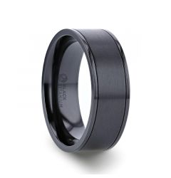 WOLFGANG Black Titanium Brushed Finish Men's Wedding Ring with Polished Dual Offset Grooves – 6mm & 8mm