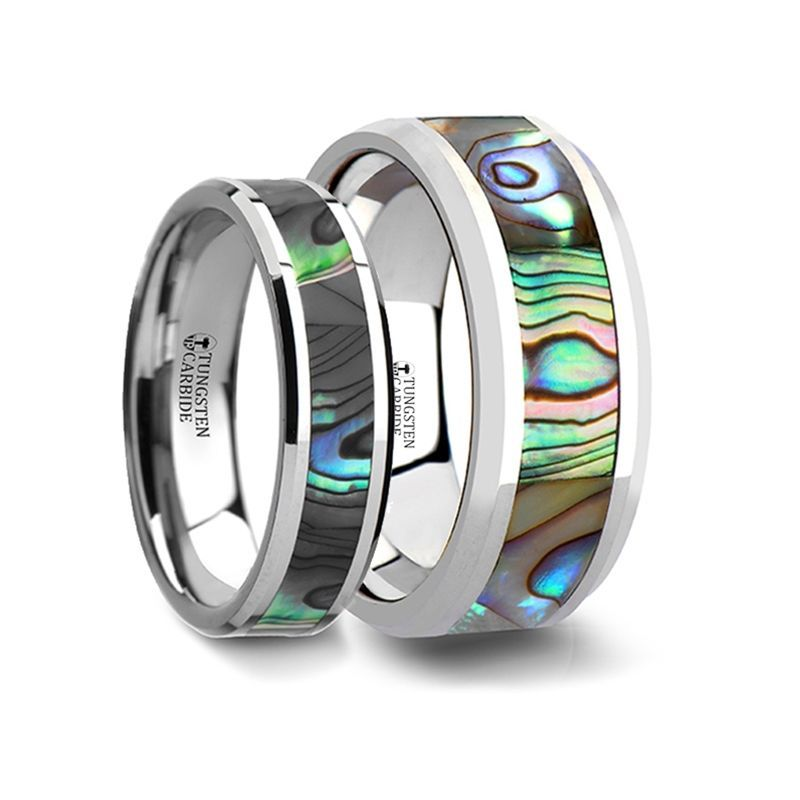 Tungsten Promise Ring with Mother of Pearl Inlay 6 mm