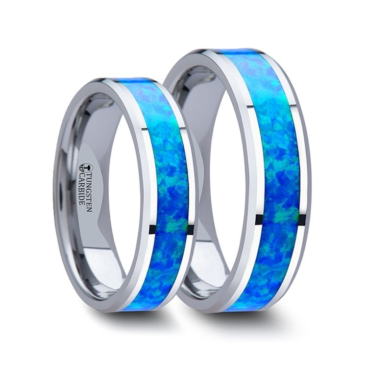 Matching Rings Set Tungsten Wedding Band With Blue Green Opal Inlay 6 Mm 8 Mm Larson Jewelers