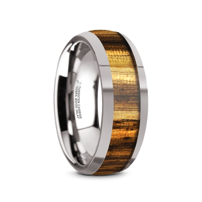 8mm Rose Wood Inlay Ring Domed Wedding Ring Mens Ring Tungsten Carbide Ring Tungsten Ring Polished Finish Ring Engagement Ring
