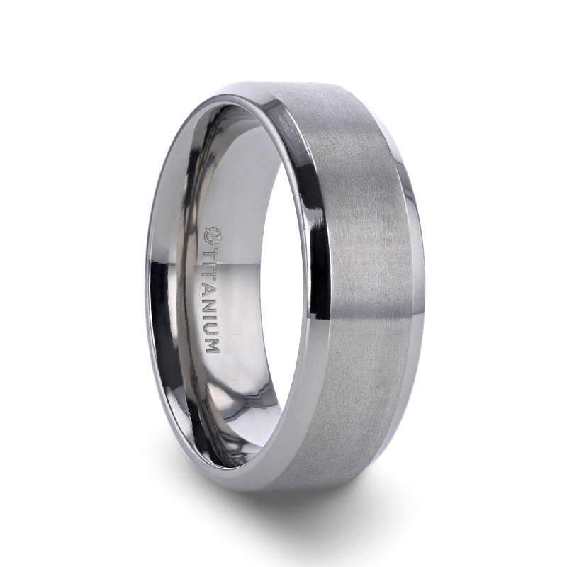 6mm White Titanium Shiny Beveled Edge Brushed Center Wedding Band Ring For Men Or Ladies