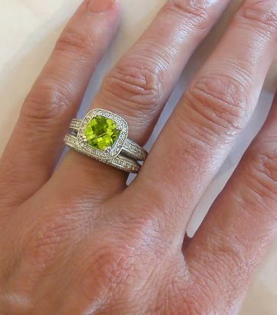 Photo by derrico_jewelry Caption: This peridot has been cut, polished, and placed into a beautiful ring with a diamond sett