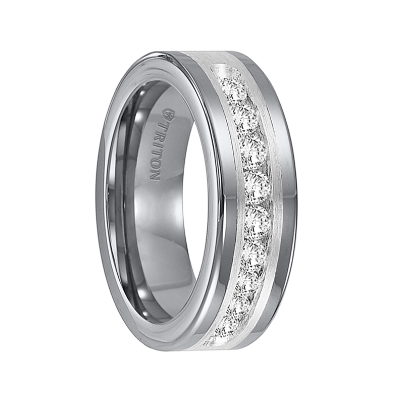 RENFRED Flat Tungsten Carbide Wedding Band with Satin Finished Silver Inlay and Large Channel Set Diamonds by Triton Rings - 8mm