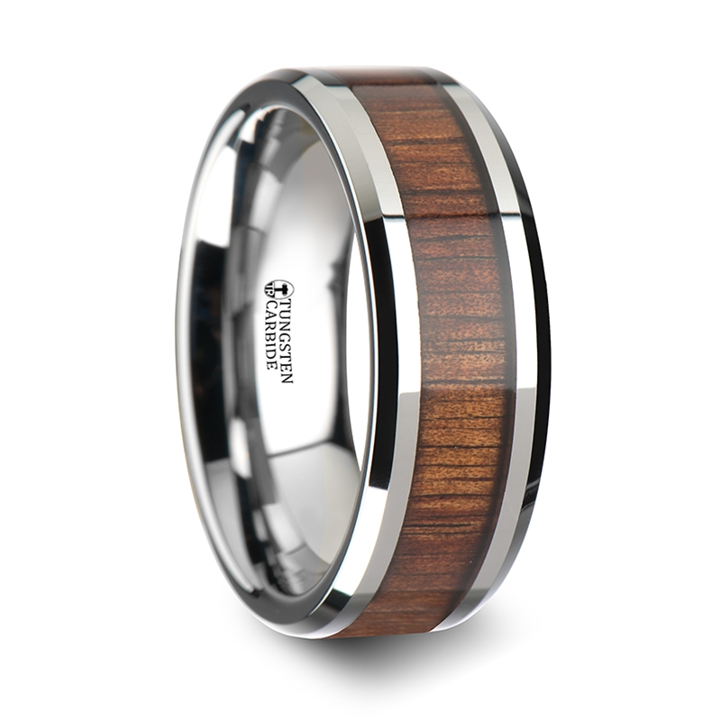 KONA Koa Wood Inlaid Tungsten Carbide Ring with Bevels - 6 mm - 10 mm