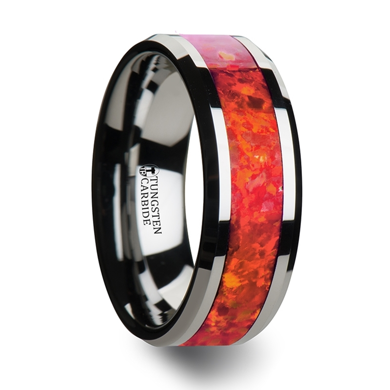 NEBULA Tungsten Wedding Band with Beveled Edges and Red Opal Inlay - 6 mm & 8 mm