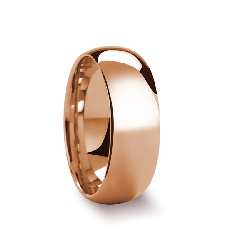 SOL Traditional Domed Rose Gold Plated Tungsten Carbide Wedding Ring - 6mm-8mm