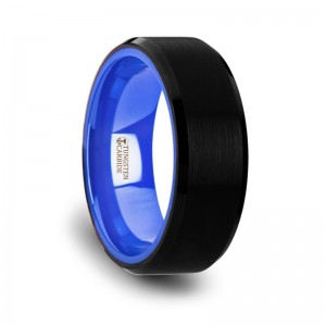 RIGEL Black Tungsten Comfort Fit Wedding Band with Brush Center Bright Bevels and Deep Blue inside color - 8mm