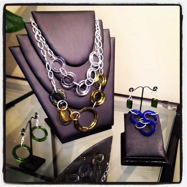 Jewelry made from recycled wine glass. Photo via Flickr (cornerstonecellars)