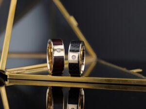 men's gold wedding bands with diamond and wood