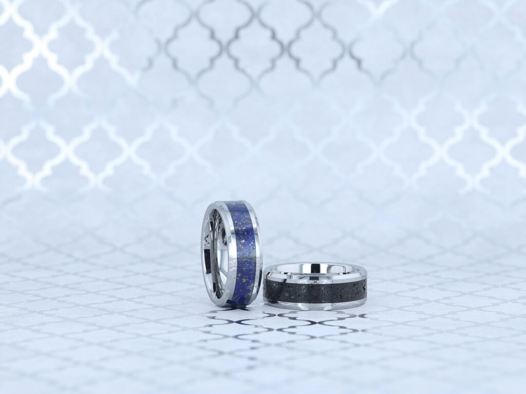 14k White Gold wedding bands with blue and black inlay