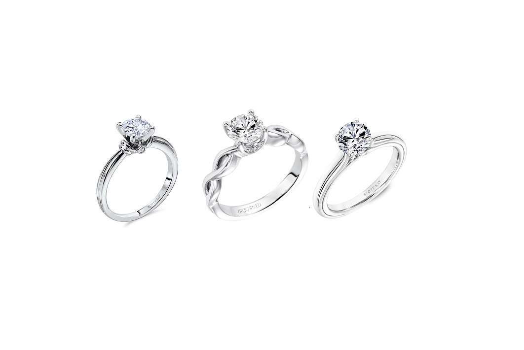 solitaire women's engagement ring set with diamonds